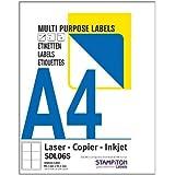 """(2) - 2 etiquetas por hoja, 100 x A4 Láminas / Caja, Adhesivo impresora de inyección de tinta, Laser & Foto Etiquetas Copiadora 2/Folio 199.6 x 143.5mm (Aproximado 8"""" x 5.7"""" pulgadas) L7168"""