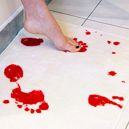 FANGff Bloody Badteppich Polyester Spuren Horror Film Badteppich Tür Teppich Holloween Dekoration Rutschfest Teppiche für Dusche Badezimmer, Siehe Abbildung, Free Size