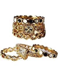 AyA Fashion Combo Set Of Gold Plated American Diamond Studded Finger Rings For Girls And Women |Elegant | Trendy... - B07B3RY7P4