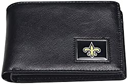 NFL New Orleans Saints Men's Leather RFiD Safe Travel Wallet, 4.25 x 3.25