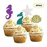 Winko sirena a tema decorazione torte glitter Sea Horse/Starfish/sirena coda/Seashell cake topper per Baby Shower, wedding, Birthday party supplies (48pezzi)