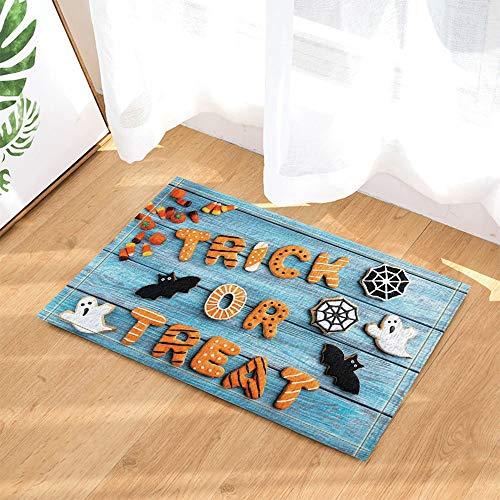 fdswdfg221 Halloween Dekor Süßes oder Saures und Geist Fledermäuse auf Türkis Holz Bad Teppiche Rutschfeste Fußmatte Boden Eingangsbereiche Indoor Haustürmatte Kinder Badmatte Badzubehör