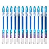 Tintenroller radierbar 0,7 mm Spitze – Blauer nachfüllbarer radierbarer Kugelschreiber – 12er Set - Ezigoo