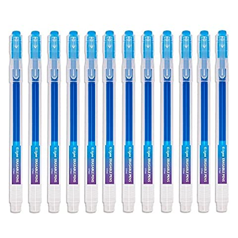 Tintenroller radierbar 0,7 mm Spitze – Blauer nachfüllbarer radierbarer Kugelschreiber – 12er Set