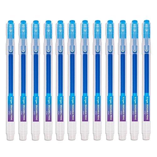 Tintenroller radierbar 0,7 mm Spitze – Blauer nachfüllbarer radierbarer Kugelschreiber – 12er Set - Ezigoo - 9BL000