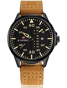 Naviforce Luxus-Herren-Sport, wasserdichte Quarz-Leder Military-Armbanduhr