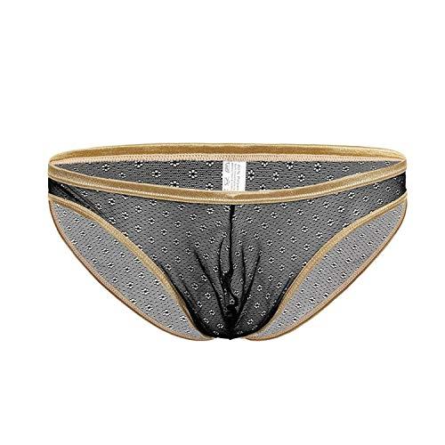 Yng Männer Retro Briefs Sexy Unterwäsche transparente Spitze Durchsichtig Männlich Unterhose dünne Breathable Männer Unterwäsche, eine Schwarze, L -
