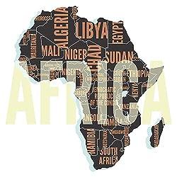 dekodino® Wandtattoo Afrika Landkarte mit Staaten Schriftzüge Wandsticker Deko