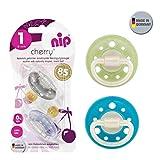 Nip Cherry redondo Aspiradora Chupete 4unidades Boy Set//Talla 1//0–6meses//azul & Turquesa + Plata & Azul Claro