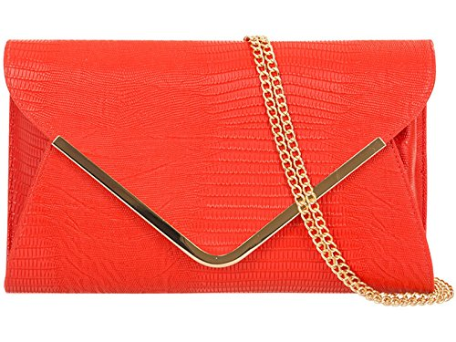fi9® borsetta da sera o da matrimonio, effetto pelle di coccodrillo luccicante. Da tenere in mano o a tracolla Multicolore (rosso)