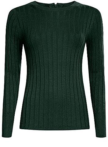 oodji Collection Damen Pullover Breit Gerippt mit Reißverschluss am Rücken, Grün, DE 44 / EU 46 /