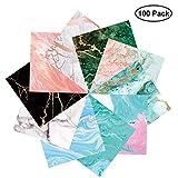 PaperKiddo Origami Papier Set 100 Blätter Marmor Muster Bronzieren Einseitige mit 10 Verschiedenen Einzigartigem Design für Kunst und Bastelprojekte 15 x 15 cm