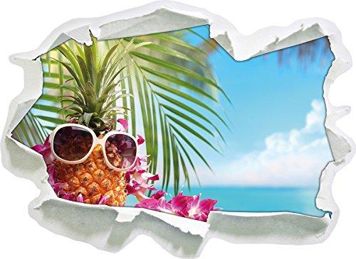 Ananas Urlaubsfeeling mit Sonnenbrille , Papier 3D-Wandsticker Format: 92x67 cm Wanddekoration 3D-Wandaufkleber Wandtattoo
