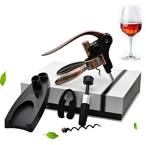 Wein Opener, 5 Stück Multifunktionale Wein Zubehör Set, Flaschenöffner + Folie Cutter + Wein Stopper + Extra Spirale + Ständer, Deluxe Korkenzieher Tool Kits für Weinliebhaber Geschenke (Wein-set 5 Stück)