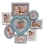 elbmöbel Bilderrahmen Collage Fotorahmen mit Herz Collage groß in Bunt aus Holz Ideal für Fotowand 10x15 Vintage (H55 x B54 x T2cm)