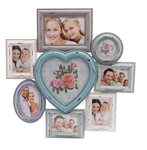 elbmöbel Bilderrahmen Collage Fotorahmen mit Herz Collage groß in bunt aus Holz ideal für Fotowand 10x15 Vintage (Gold-herz-bilderrahmen)