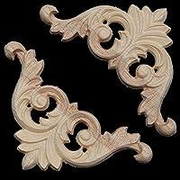 Chenxi tienda 2pcs 8x 8cm sin pintar madera tallada aplique de esquina para muebles decoración del hogar