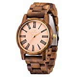 Wood Watch Men,MUJUZE Eco-Friendly Lightweight Japanese Analog Quartz 41mm Light Pink Round Face Acacia Wood Grain Wooden Watches, Packed in a Reusable Gift Box