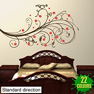 Motif décoratif avec fleurs–Sticker mural Salon Chambre (Petit)