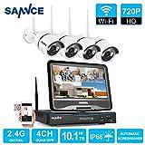 SANNCE KIT Wifi NVR 1080P 8 Canali 4 Wireless Telecamera 1080P+10,1' LCD Monitor IR Kit Sorveglianza H.264+ IP66 Visione Notturna 30m Motion Detection Kit Wireless Antenna Wifi senza HDD