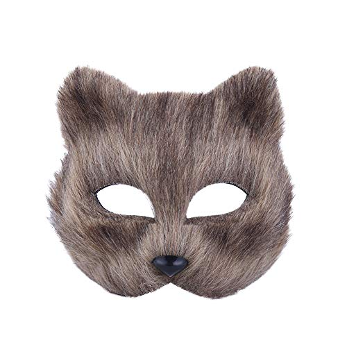 Grey Cosplay Kostüm Fox - RENNICOCO Halloween Fox Maske Cosplay Kostüm Half Face Tier Kopfbedeckungen Caps Pelzigen Party Performance Zubehör Erwachsene Teen Cosplay Halloween Party Kostüm
