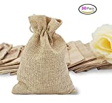 30pcs Burlap Bags Jewelry Pouches with Drawstring, Resusable Gift Bag Jute Hessian Linen Goodie Bag Packing Storage for Wedding Party Bridal Shower Birthday Christmas DIY Craft Favor, 5 x 4 Inch DIKETE®