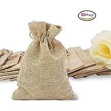 30pcs bolsas de arpillera bolsas de joyas con cordón, bolsa de regalo reutilizable Bolsa de sorpresas de lino de yute de yute para el banquete de boda cumpleaños nupcial del arte de bricolaje favor, 5 x 4 pulgadas
