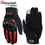 #4: Pitzo Probiker Tribe Full Finger Riding Gloves (Orange, Large)