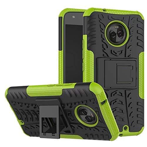 Motorola Moto X4 Hülle, GOGME Rugged TPU / PC Hybrid Armor Schutzhülle. Anti-Scratch PC Rückwand Schale + Stoßfeste TPU Innenschutzabdeckung + Faltbarer Halterungen, green