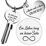 Geschenke 24: Schlüssel ein Leben lang an deiner Seite - gravierte Geschenkidee für verliebte Paare - Schlüsselanhänger mit Gravur (Silber