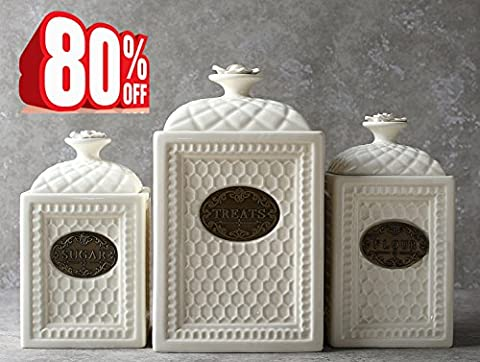 Sugar Treats Flour Canisters, Ceramic Storage Container with Airtight Lid
