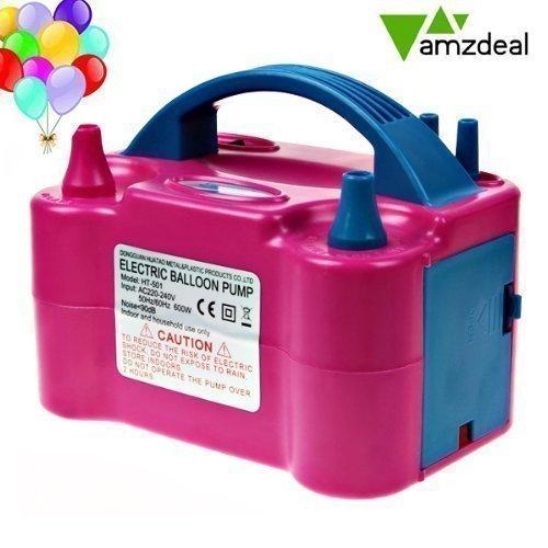 Amzdeal Luftballonpumpe elektrische 600W, Ballonpumpe mit automatik & halbautomatisch Modi und tragbare Ballons Pumpe für Geburtstagsfeiern, Party, Hochzeitsfeiern (Motor 600w)