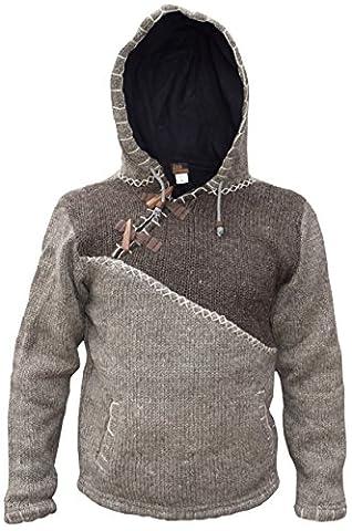 Little Kathmandu Herren Woll Fleece Gefüttert Kapuzenpullover Jacke Brown Light Brown Mix X-Large (Nepal Herren Hoodie)