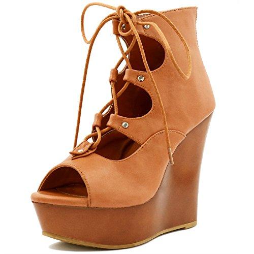Allegra K Damen zum Schnüren Ausschnitt Keilabsatz Sandalen Braun