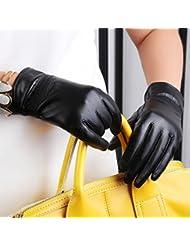 Los guantes calientes guantes y cómoda Guantes de cuero de gamuza mujeres calientes más gruesos guantes de montar la pantalla táctil de invierno ( Edición : A , Tamaño : M )