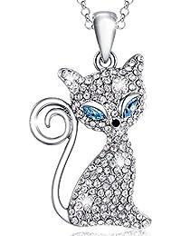 MARENJA Collar Mujer de Moda Chapado en Oro Blanco Gato de Cristal Claro Ajustable 40+5cm