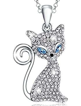 MARENJA Kristall-Damen Kette mit Anhänger Katze Weißgold beschichtet Kristall blau transparent 40+5cm