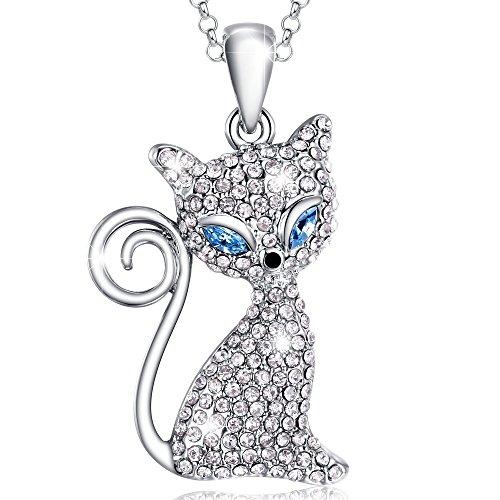 MARENJA Cristal-Regalo San Valentín-Collares Mujer Gato Chapado en Oro Blanco Cristal Claro Ajustable