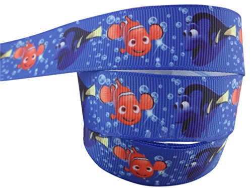 2m x 22mm DISNEY FINDING NEMO AND DORY GROSGRAIN RIBBON FOR BIRTHDAY CAKE'S, WEDDING CAKES, GIFT WRAP WRAPPING MOTHERS DAY by Pimp My Shoes