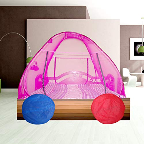 vvv Double Bed Foldable Mosquito Net with Border, King Size,Queen Size, (Pink, 6x6)