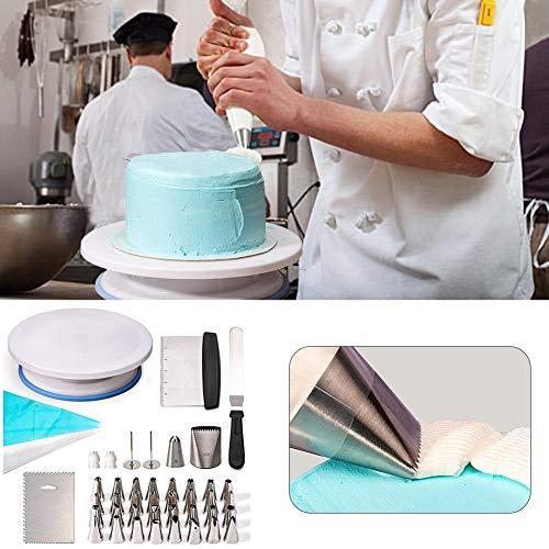 HealthyBear Kuchen Dekorieren, 63 pcs Kuchen Plattenspieler Kit, Tortendeko Set, Fondant Werkzeug, Backen Zubehör mit 32 rostfreien Gebäckspitzen für Cupcakes Kekse Useful (Backen-werkzeug-kit)