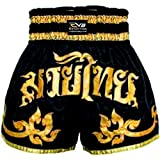 EVO Fitness Shorts De Muay Thai MMA Kick Boxing Arts Martiaux Combat Rouage - Noir et Or, X-Small