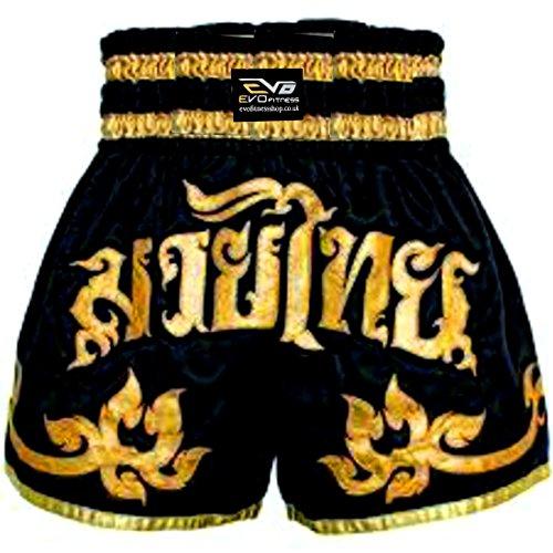EVO Fitness Muay-Thai Shorts MMA Kickboxen Kampfsport Kampf-ausrüstung - Schwarz und Gold, Medium (Shorts Muay Thai)