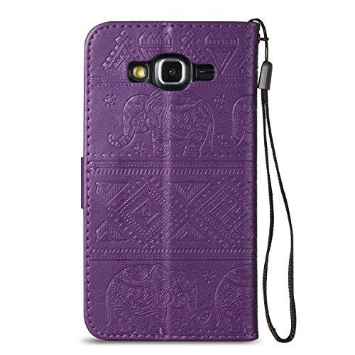 Für Samsung Galaxy J5 Premium Leder Schutzhülle, weiche PU / TPU geprägte Textur Horizontale Flip Stand Case Cover mit Lanyard & Card Cash Holder ( Color : Blue ) Purple