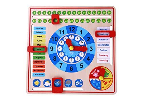 Tooky Toy Holz Jahresuhr für Kinder - Lernuhr mit der Ihr Kind spielend leicht die Uhr, Wochentage, Monate, Jahreszeiten und das Wetter erlernen - ca. 30 x 30 x 5 cm - geeignet ab 36 Monaten (Deutsch)