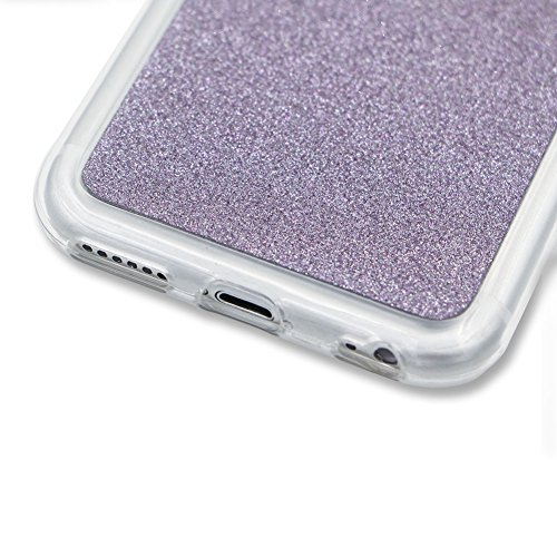 Für iPhone 7 Plus 5.5 Zoll Ultra Dünn Silikon Tasche,Für iPhone 7 Plus 5.5 Zoll Bling Glitter Schutz Hülle mit Liebe Herzen Ring Halter,Funyye Luxus [Herzen Ring Gold Gradient Farbe] Sparkles Glänzend Muster 5