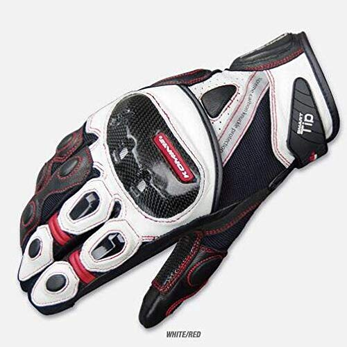 MYSdd 2018 Nuovi guanti da corsa per moto KOMINE GK 160 moto guanti da equitazione in pelle/fibra di carbonio DROP touch PhoneWhiteL
