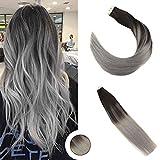 Ugeat 24 Pouces/60cm 100Gramme Tissage Bresilien Lisse Extension Tape Remy Cheveux Humain Balayage Couleur Noir et Gris Hair Extensions Tissage Natural 40pcs #1B/Silver