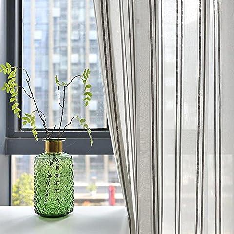 Rideaux à rayures et Drapes moderne simple Couleur unie Semi-shading Rideau fenêtre dépistage Salon balcon Chambre à coucher pour baie vitrée Gaze Fini Product-1pc, 1pc(150x220cm)
