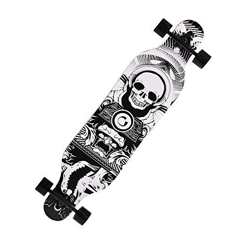 keelied Skateboard Longboard Street Freeride Longboard Cruiser Board Anfänger Komplettboard mit ABEC-9 High Speed Kugellager Drop Down Street, 104 x 23 x 10cm, Komplett Fertig Montiert 110kg(EU - Board Im Buchstaben Freien